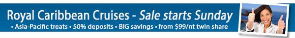Royal Caribbean – ½ price deposits & OBC