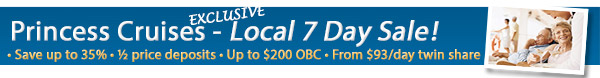 Exclusive Princess Cruises Sale - 50% Deposits & Bonus OBC