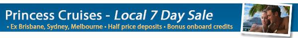 Local Princess Cruises 7 Day Sale - Bonus OBC & 50% Deposits!