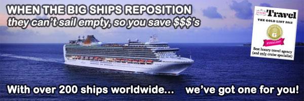 Featured departures Relocating cruises