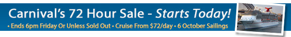 Carnival's 72 Hour Sale!