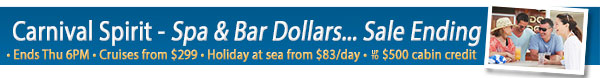 Last Days - Carnival Cruises up to $500 OBC