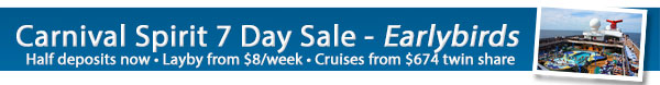 Carnival Spirit 2014 Layby from $8/week