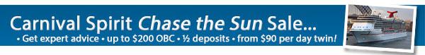 Carnival Spirit - Chase the Sun Sale - 50% Deposits
