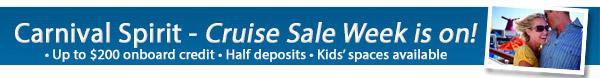 Carnival Spirit Sale - Bonus OBC + 50% Deposits