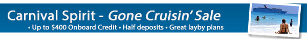 Carnival Spirit's Gone Cruising Sale