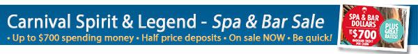 Carnival Cruises Spa & Bar Sale + 50% Off Deposits